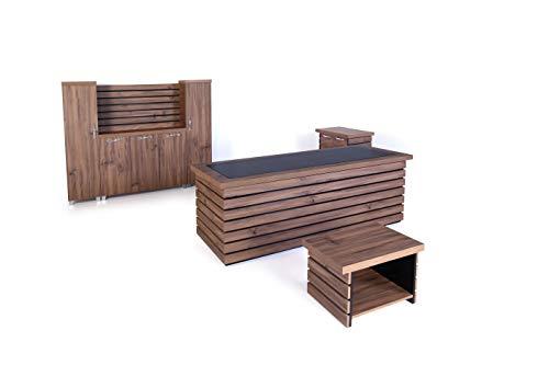 "Mare Collection Modern Elise 4 Piece Desk Home Office Suite Furniture Set 87"" Rustic Brown & Black"