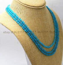 Blue Aquamarine Brazil (17-19 inch 3 rows 4mm light blue Brazil Aquamarine gemstone bead necklace)