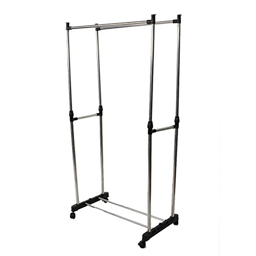 Marketworldcup Double Heavy Duty Rail Portable Clothes Hanger Rolling Garment Rack Adjustable