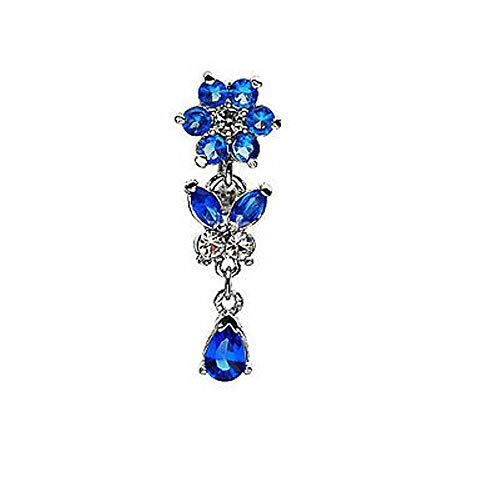 1 Pc Blue C.Z. G-5 Solid Titanium Shaft Flower, Butterfly, Tear 3 in 1 Belly Ring