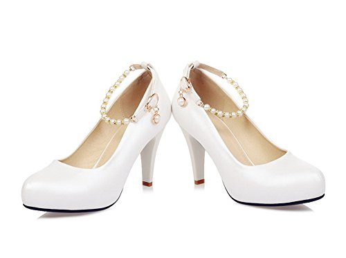 BalaMasa Ladies Bead Metal Ornament Ankle Cuff Imitated Leather Pumps-Shoes White W0A27bEZc