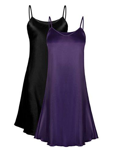 (Genuwin 2 Pack Women's Satin Full Slip Dress Chemise Sleepshirt Nightgowns for Women S~2XL (Black+Plum, Large))