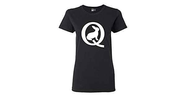 Ladies Q Symbol Bunny Calm Before The Storm Qanon DT T-Shirt Tee