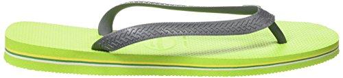 Havaianas Hav. Brasil Logo - Chanclas, Unisex Verde (Lime Green/Grey 3650)