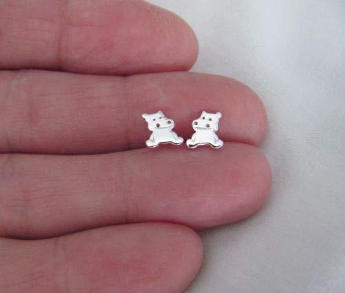 (Sterling Silver 7.5mm Hippo Hippopotamus Post Stud Earrings. - Jewelry Accessories Key Chain Bracelet Necklace Pendants)