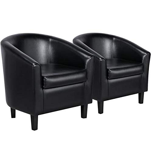 Yaheetech Accent Chairs Set of 2 Faux Leather Barrel Chair Side Chairs Club Chair for Bedroom Living Reading Room, Black (Club Upholstered Small Chairs)