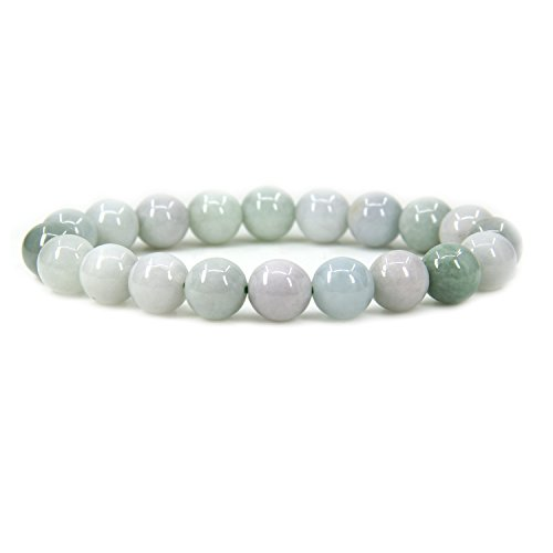 Amandastone Natural Green White Jade Jadeite Genuine Semi Precious Gemstones Healing 10mm Beaded Stretch Bracelet 7
