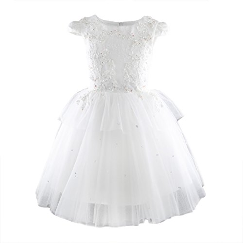 Toddler Girls Tutu Dress Handmade Bead Flower Kids Wedding Party Pageant Gown White 4