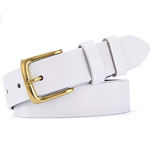 - Ayli Women's Classic Gold Color Buckle Buckle Jean Belt, Handcrafted Genuine Leather Belt, Free Gift Box, White, Fits Waist 32