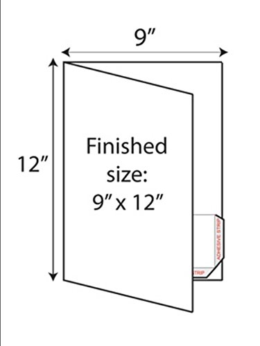 Print-Ready Presentation Folder Kit with Right & Left Pockets (9'' x 12'' folded), 1-UP on 12'' x 18'' White 12pt C1S Tango Cover Paper - 100 Sheets