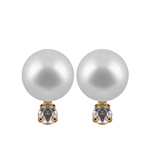 - 14K Yellow Gold Handpicked AAA Quality Round Genuine White Freshwater Cultured Pearl Stud Earrings Set with Diamonds for Women