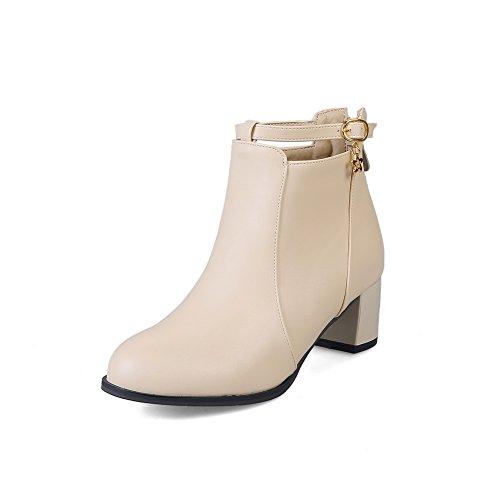 BalaMasa Womens Slip-Resistant Buckle Pointed-Toe Urethane Boots ABL09893 Apricot IdaegT5L