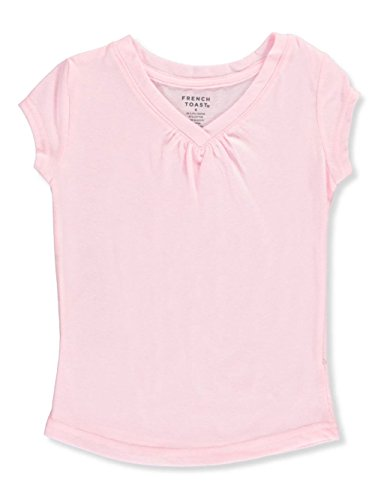 French Toast Little Girls' Ruched V-Neck T-Shirt - Light Pink, ()