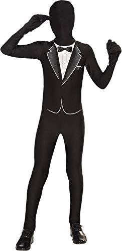 Forum Novelties Women's Teen Disappearing Man Patterned Stretch Body Suit Costume Tuxedo Print, Black/White, Small/Medium -