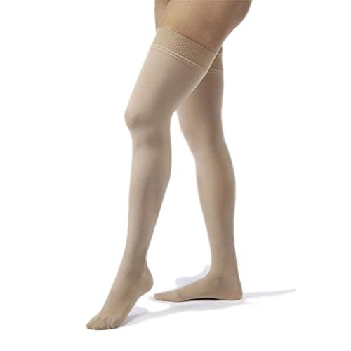 Jobst Opaque THIGH HIGH Extra Firm Compression 30-40 Petite M - Open-toe Silky Beige by JOBST
