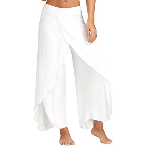 Verano Mujer Casual Suelto Pantalones Pierna ancha Culottes Tramo Pantalón Ropa Plisado Cintura elástica White