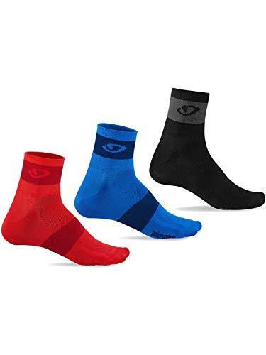 Giro Comp Racer 3 Pack Cycling Socks - Bright Red/Blue/Charcoal - Socks Bike