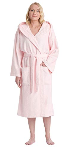 (Arus Women's Classic Hooded Bathrobe Turkish Cotton Terry Cloth Robe (XS,Pink) )
