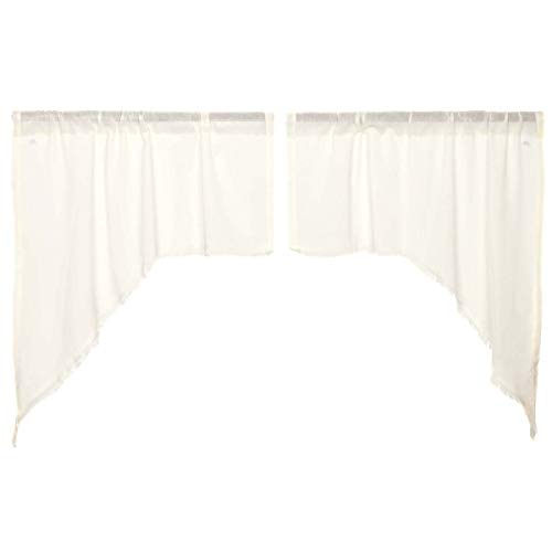VHC Brands Tobacco Cloth Fringed Curtain Panel Pair