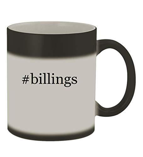 #billings - 11oz Color Changing Hashtag Sturdy Ceramic Coffee Cup Mug, Matte Black