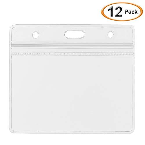 - SummerHouse 12 Pack Transparent Clear Plastic Nametags ID Badge Holder - Resealable, Waterproof, 3 Pre-Punched hole and Zipper - Fits 3.5x2.25'' HORIZONTAL Card Insert