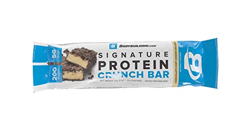 Bodybuilding.com Chocolate Chip Cookie Dough Signature Protein Crunch Bar   20g Whey Protein Low Sugar   Gluten Free No Artificial Flavors   1 Sample Bar