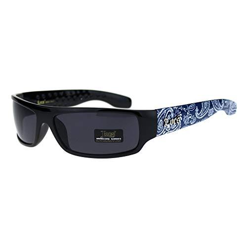 Locs Mad Dog Hardcore Gangster Cholo Narrow Rectangular Sunglasses Blue Bandana