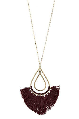Tripledmerchandise Elongated Teardrop Fringe Pendant Necklace Set