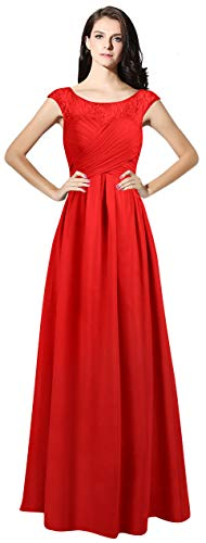 VaniaDress Jewel Neck Cap Sleeves Long Bridesmaid Gown Evening Dress V067LF Red US16