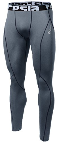 TM-P16-GRKZ_Medium j-L Tesla Men's Compression Leggings Baselayer Cool Dry Sports Tights Pants P16