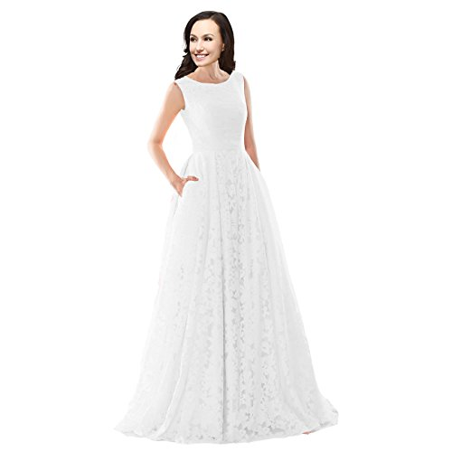 Lemai A Line Lace Corset Simple Sleeveless Long Prom Evening Dresses White Us 8