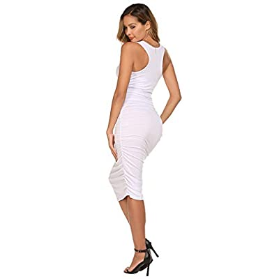 Zeagoo Ruched Bodycon Dress for Women, Midi Stretchy Sleeveless Tank Dress S-XXL at Women's Clothing store