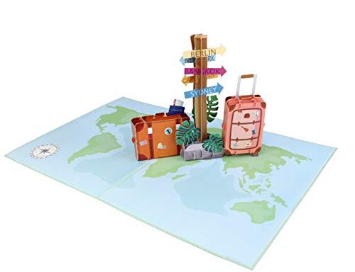 MOKIO® Pop-Up Reisegutschein – 3D Gutscheinkarte zum Urlaub, Geburtstag oder Abschied – Geldgeschenk für Urlaubsgeld…