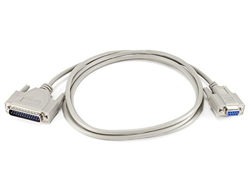 Monoprice 6-Feet Null Modem DB9F/DB25M Molded Cable (100479) -