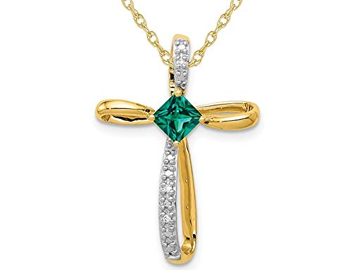 (1/4 Carat (ctw) Lab Created Emerald Cross Pendant Necklace 14K Yellow Gold with Chain)