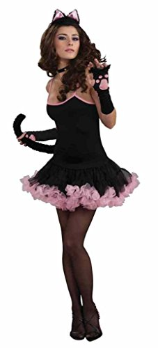 [Adult SophistiCat Slip Dress - Black and Pink Costume Accessory - Fits up to 14/16] (Sophisticat Costume)