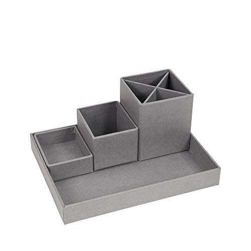 Bigso 4-Piece Lena Desktop Paper Laminate Organizer, Grey