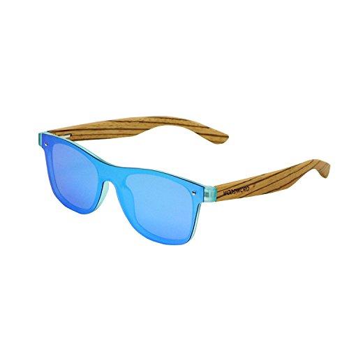 Wood Sunglasses Polarized for Women and Men - Wood Frame Sunglasses Wayfarer with Flat Mirror ()