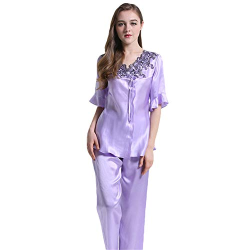 (Women's 100 Silk Casual Pyjama Set Short Pajamas Lace Neck Ladies 2Pcs Pure Mulberry Silk Charmeuse Leisure Luxury,Purple,M)