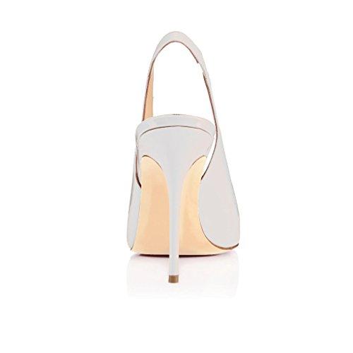Stiletto Pumps Lackleder Gummiband Damen Übergröße Weiß EDEFS mit Spitze Heels Damenschuhe Zehen Slingback H5Szqwxq6