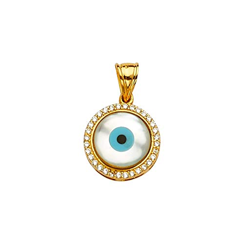 Sonia Jewels 14k Yellow And White Gold Mop Cubic Zirconia CZ Evil Eye Pendant Pendant 20mm X 13mm ()