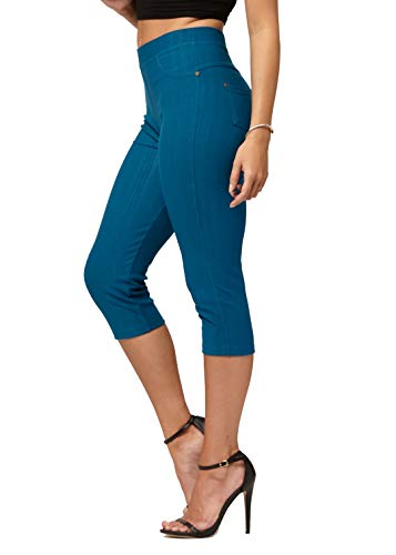 Premium Jeggings - Denim Leggings - Cotton Stretch Blend - Capri Teal Blue - Small/Medium