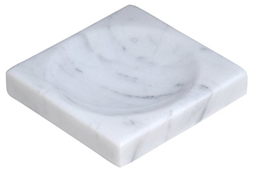 CraftsOfEgypt White Marble Soap Dish - Polished and Shiny Marble Dish Holder – Beautifully Crafted Bathroom - Soap Marble Dish