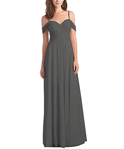 Women's Pleated A Line Off The Shoulder Long Chiffon Prom Bridesmaid Dress Wedding Party Dress Grey Size 14