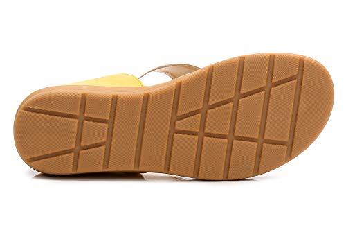 Bas de JDS® Métallique Talon Bohème Sandales Chaussures Décoration Plage Fortuning's Jaune Compensées d'été Blanc pqtq4