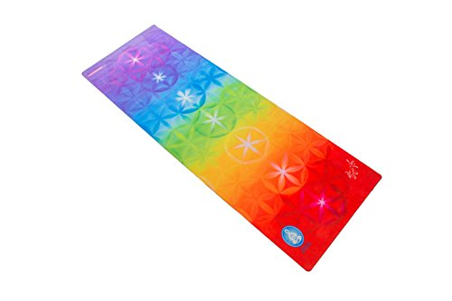 Spiritual Revolution Yoga Combo Mat - Luxury Mat and Towel That Grips While You Sweat. No Slip, PVC Free, and Machine Washable, Rainbow Chakra