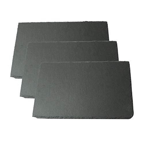 """Lonovel Slate Cheese Board Natural Slate Cheese Plates for Kitchen Dining Parties and Entertaining,8""""x12"""" Slate Placemats Display Tray for Cake,Fruit,Snack,Biscuit,Steak,Bacon,Sushi,Set of 3"""