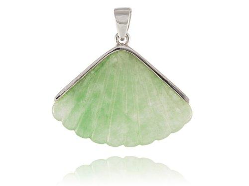 (Light Green Jade Flared Fan Pendant, 925 Sterling Silver )
