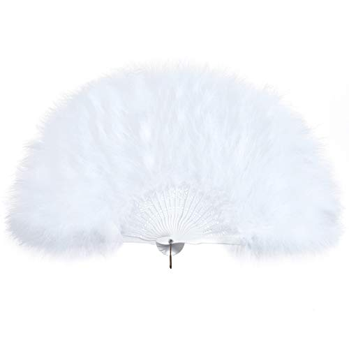 Collection Roaring 20s (BABEYOND Roaring 20s Vintage Style Folding Handheld Marabou Feather Fan Flapper Accessories (White))