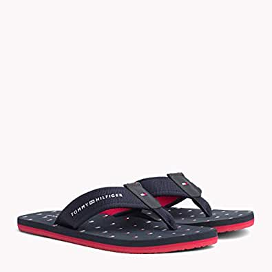 TOMMY HILFIGER Men's Flag Print Beach Sandals, Midnight, 41 EU